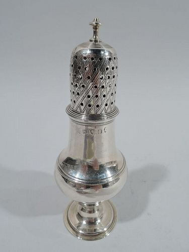 Antique English Georgian Neoclassical Sterling Silver Condiment Shaker