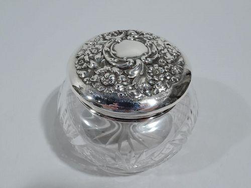 Antique American Edwardian Art Nouveau Sterling Silver Vanity Jar