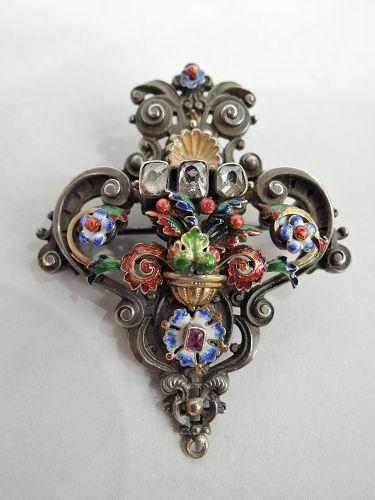 Renaissance Revival Silver And Gold Enamel Brooch