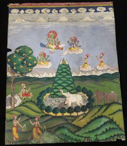 19th CENTURY NEPALESE HINDU PAINTING OF VISHNU ON GARUDA