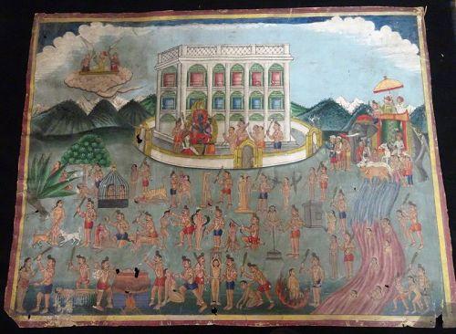 19th CENTURY NEPALESE HINDU COSMOLOGICAL PAINTING