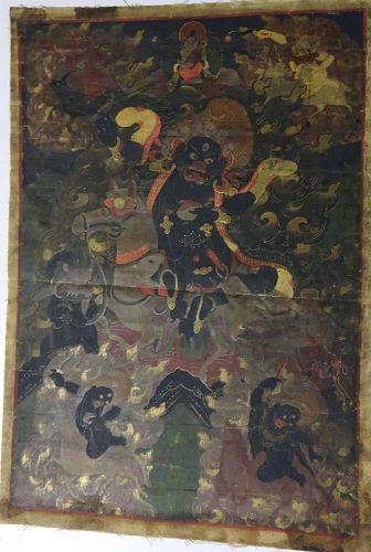 19TH CENTURY TIBETAN THANGKA THANKA PALDEN LHAMO