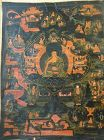 ANTIQUE TIBETAN OR NEPALESE HIMALAYAN BUDDHIST THANGKA