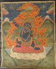 ANTIQUE TIBETAN OR MONGOLIAN HIMALAYAN BUDDHIST THANGKA