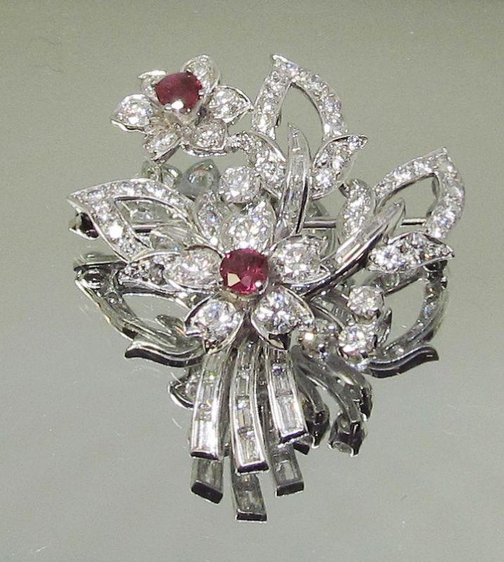 Platinum Diamond and Ruby Flower Bouquet Brooch