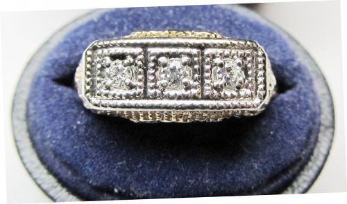 14Kt Yellow Gold Filigree and Diamond Ring