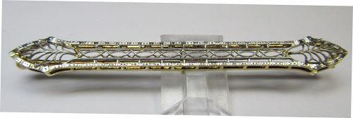 14Kt Two-tone Filigree Bar Pin