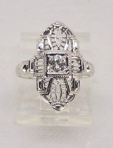 Filigree Diamond Ring 18Kt White Gold
