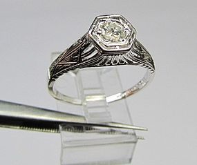 Vintage Platinum and Diamond Ring