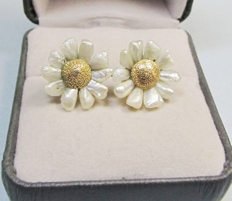 Victorian 14Kt Gold and Freshwater Pearl Earrings