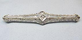 14Kt Gold Filigree Bar Pin with a Diamond