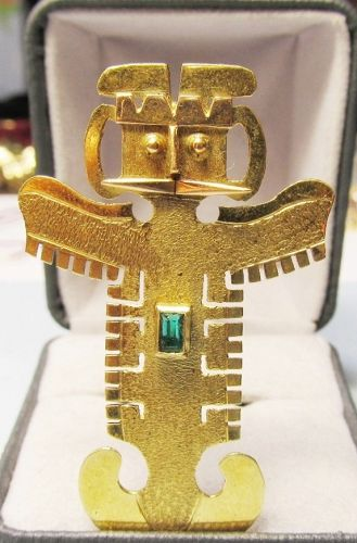 18Kt Colombian Totem Figure Broach/Pendant