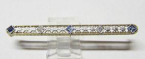 Sapphire and Diamond Filigree Bar Pin