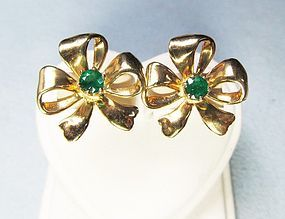 14Kt Gold and Emerald Bow Earrings