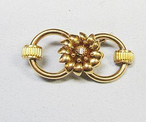 Pink Gold Retro Brooch with Diamond