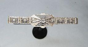 Art-Deco 14Kt Gold Filigree and Diamond Bracelet