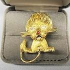 Regal 18Kt Gold Lion Broach