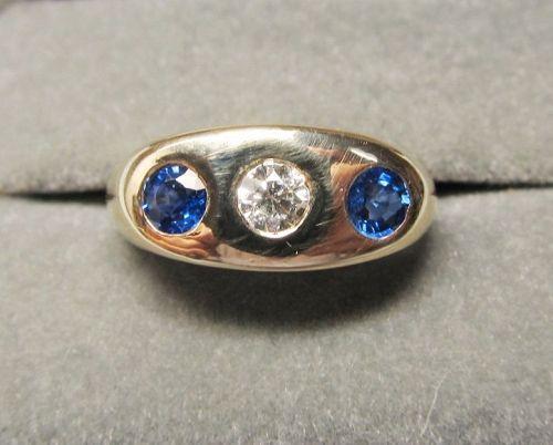 Vintage 18Kt Gold Men�s Sapphire and Diamond Three Stone Ring