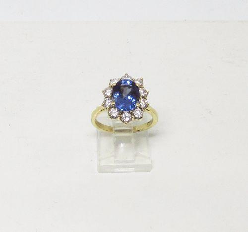 Elegant Tanzanite and Diamond Ring