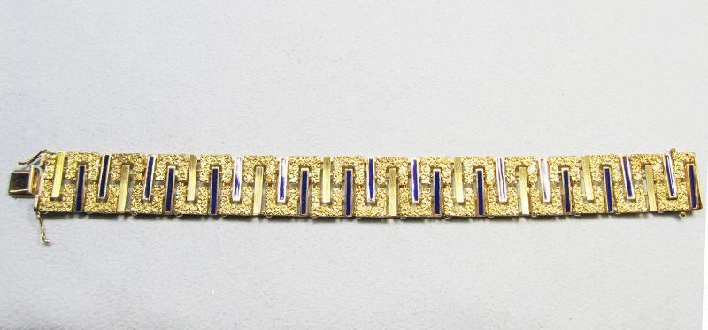 Mid-century Modern 14Kt Gold and Enameled Bracelet