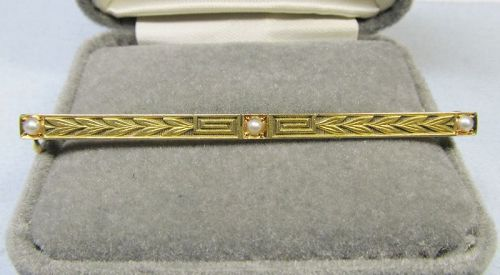 Art Deco 14Kt Gold and Seed Pearl Bar Pin