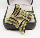 Blue and Green Enameled 18Kt Gold Broach