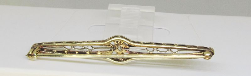Gold and Diamond Bar Pin 14Kt Two Tone