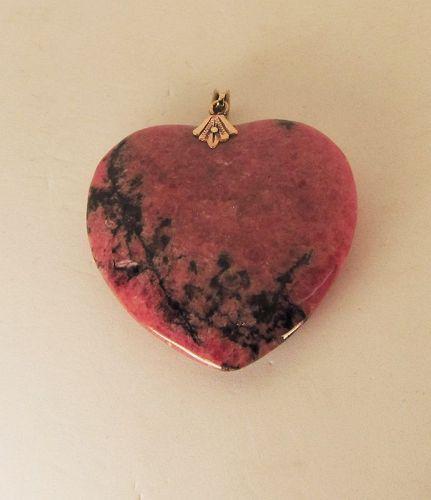 Rhodochrosite Heart Pendant with 14Kt Findings