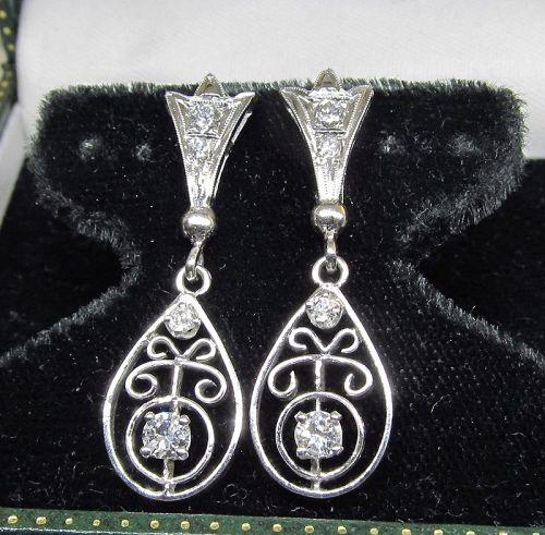 Diamond Openwork Hanging Earrings 14Kt Gold