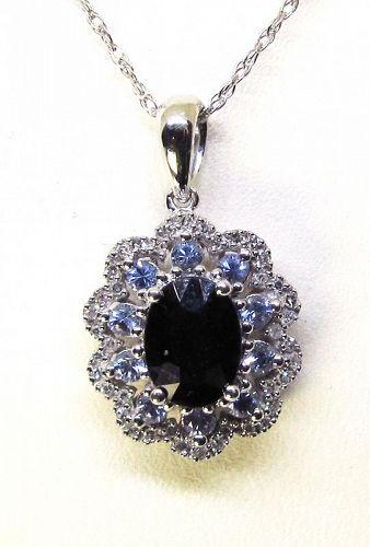 Sapphire Diamond and Tanzanite Pendant 14Kt Gold