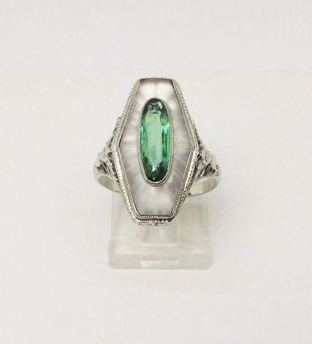 Art Deco Carved Crystal Filigree 14Kt Gold Ring
