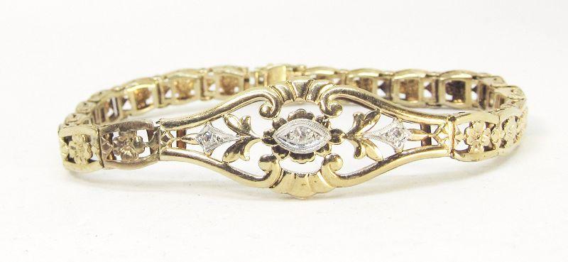 Filigree Flower Bracelet 14Kt Yellow Gold