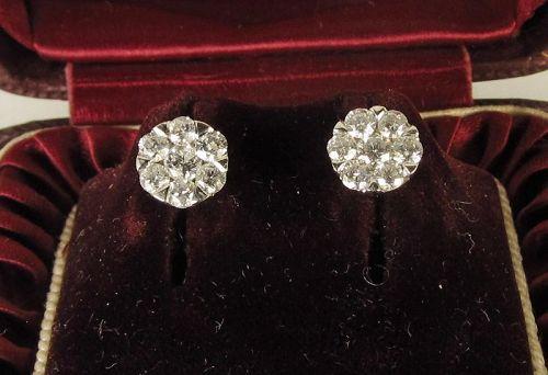 Diamond Cluster Earrings 14Kt White Gold