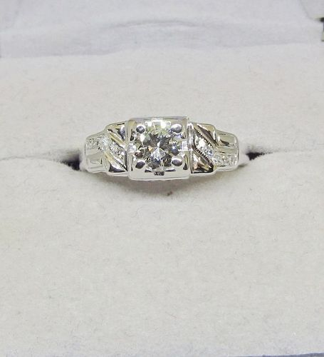 Art Deco Diamond Ring 14Kt White Gold