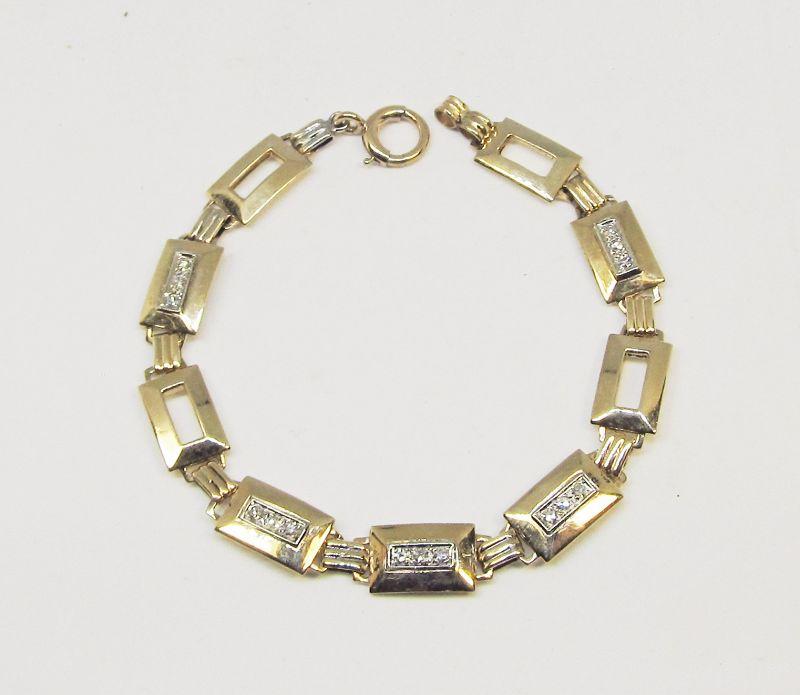 Deco Diamond Bracelet 14Kt Gold