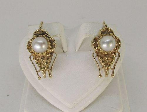 Etruscan Pearl earrings 14Kt Gold