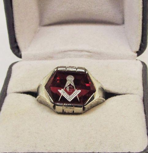 Masonic Ring 14Kt White Gold