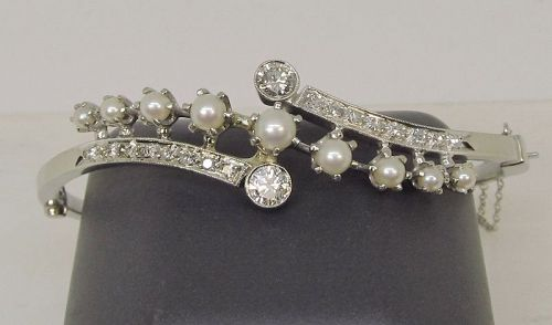 Pearl and Diamond 14Kt White Gold Bangle Bracelet