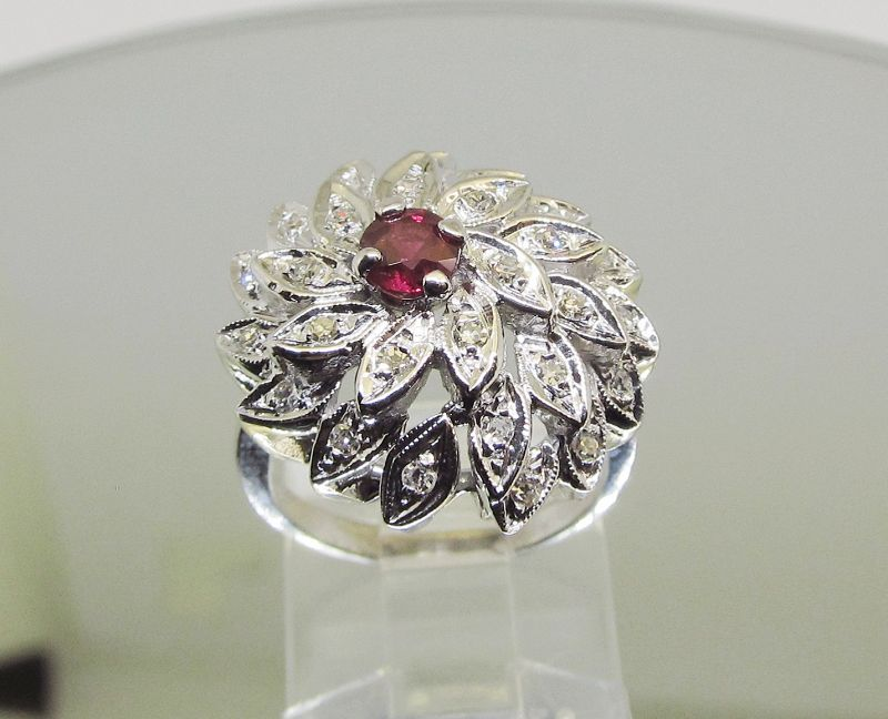 Diamond and Ruby Dome Ring 14Kt White Gold