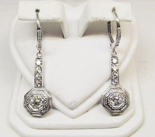 Diamond Hanging Earrings 14Kt White Gold