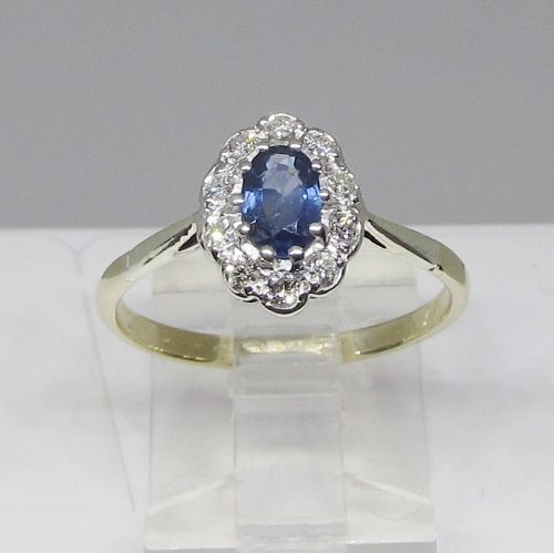 Sapphire and Diamond Cluster Ring 9Kt Gold