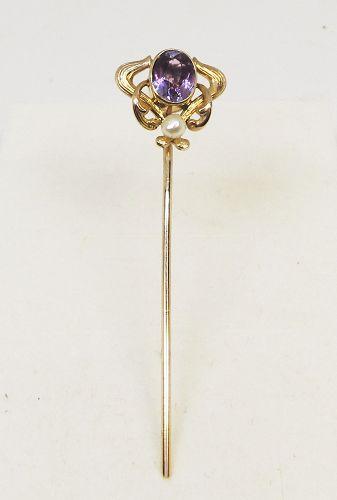 Amethyst Stickpin Art Nouveau 14Kt Gold