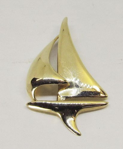 Sailboat Pendant 14Kt Gold