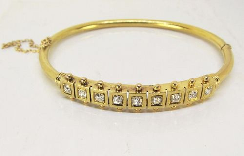 Victorian Etruscan Gold and Diamond Bracelet