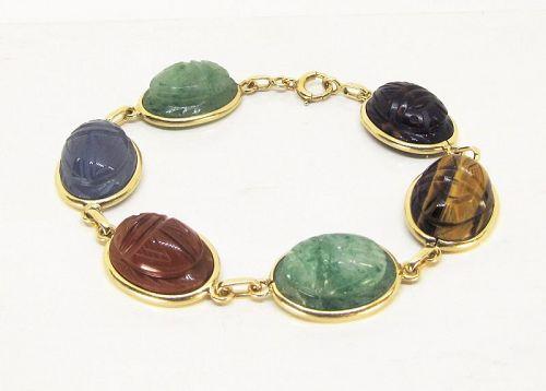 Scarab Bracelet Carved Semiprecious Stones 14Kt Gold