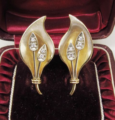 14Kt Gold and Diamond Lily of the Valley Earrings