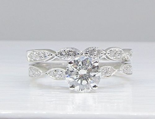 Engagement Ring with Matching Band, Diamond 18Kt Gold, Estate