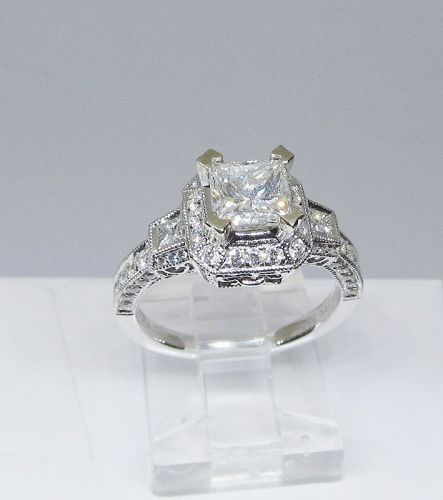Diamond Engagement Ring, Square Cut Diamond, 18Kt Gold
