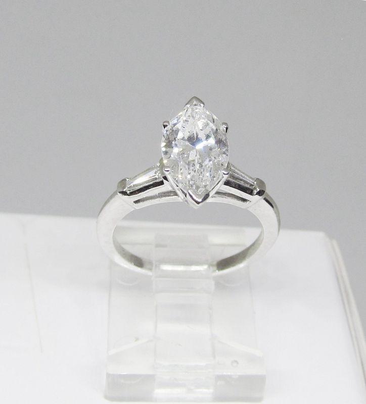 Engagement Ring, 1.65Ct Marquise Diamond, Platinum