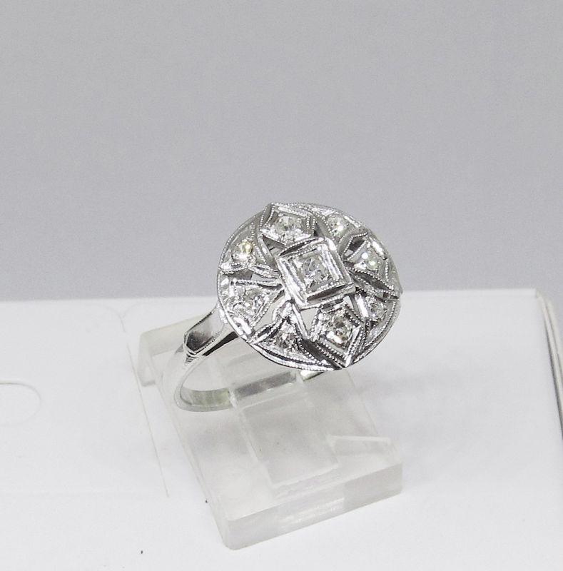 Estate Diamond Cluster Ring Set in 14Kt White Gold